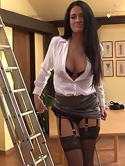 Nicole Vice crotchless panties and stockings striptease