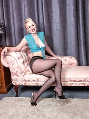 We join Kiana on the chaise in a very revealing crocheted skimpy top, tiny leather mini skirt...