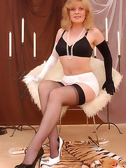 Angel in black white clothes and reinforced stockings