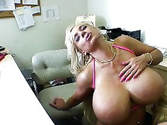 Big titted blond cock suckers in office