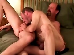 Amateur straight bears toy anal playing