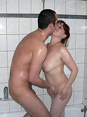 On the bed and in the shower, this mature slut fucks everywhere
