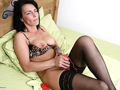 Naughty British mom playing with herself