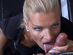 Cock-hungry cougar gobbles on fresh meat and opens stockinged legs for anal