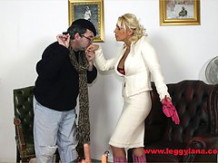Horny blonde Lana Cox enjoys her newly purchased pussy toy from a French dildo maker