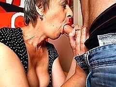 Horny mature slut sucking and fucking her toyboy