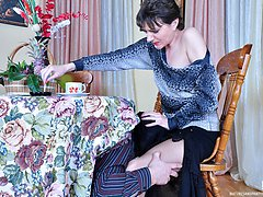 Freaky milf in control top pantyhose lets a guy put to work his stiff dick