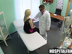 Thick blonde patient gets naked for her doctor