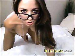 Teen with glasses dildo riding