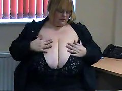 Big Titted Blonde BBW dildos in office chair