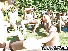 Outdoor gay gangbang suck fest part4