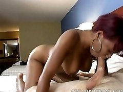 Beautiful ebony pounded hard for creampie
