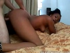 Ebony ready for creampie on bed
