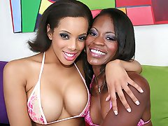 Sexy ebony girls have fun playing with toys and eating pussy