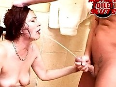 She loves piss, cocks and ass all on the toilet