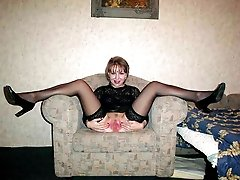 My lustful beautiful wife and each of my pretty GFs like wearing their nylon stockings while having hot sex.