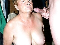 Horny granny Ginger Spice playing with her tits while slurping a thick cock and gets a nasty cum...