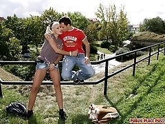 Blonde having sex in public