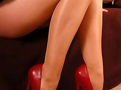 Angel in 7 inches high heels and sheer pantyhose