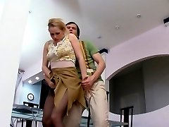 Horny guy lowers babes hose to show couple exercises for pussy-stretching
