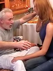 Old dick plays with young cunt