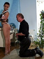 Slim young girlfriend tricked into riding the red veiny dick of her bfs dad