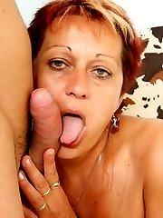 The hot mature babe will be his mother in law soon and he fucks her old pussy hard today