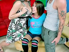 Hot teen sitter gets into a steamy threeway action