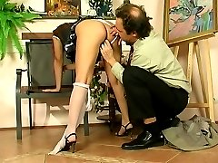 Sleeping girl waked up by a horny oldie having a big hard-on for her to eat