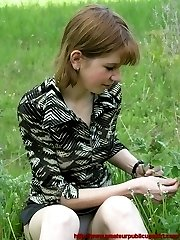 All busy studying the grass this cutie let her short skirt ride up revealing her sexy white...