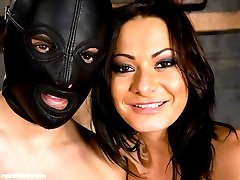 Mistress Sandra Romain taunts Lefty while he suffers in painful predicament with his hard cock...
