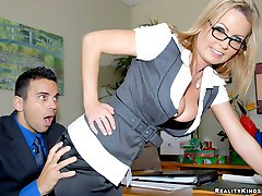 Super hot big tits babe behind office desk calls in her employee for a raise but only if he...