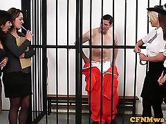 CFNM police femdom wanking off prisoner
