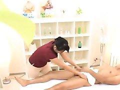 Subtitled CFNM Japan masseuse with masturbating client