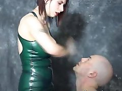 Poor slave is extremely tortured by his big titted mistress