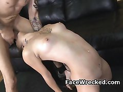 Dirty Brunette Puking During Very Rough Face Fucking