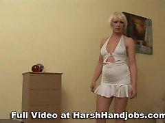 Mini dress milf gives boyfriend a harsh handjob