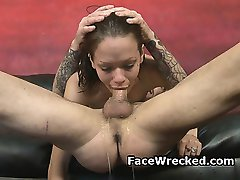 Pretty Brunette On Her Knees Gagging During Face Fucking