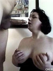 Busty plumper gives sloppy blowjob