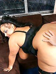 Black BBW masseuse in super hot black nylon got boned by her horny happy customer
