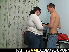 Naughty chubby teacher lures him