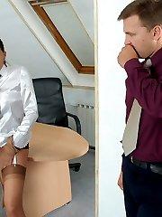 Frisky secretary tasting nylons before wanking rocky cock through stockings