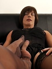 Horny Milf Nylon Jane wraps her nylon feet around this lucky Tgirls big cock, for an awesome...