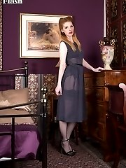 Nichole slipping off her transparent dress to reveal black lingerie and ff nylons!