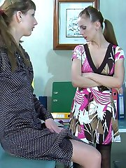 Leggy office babe helps a female coworker with her nylons for a lez quickie
