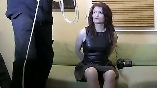 Nylon-addicted guy gets advances from a curvy secretary in smooth pantyhose