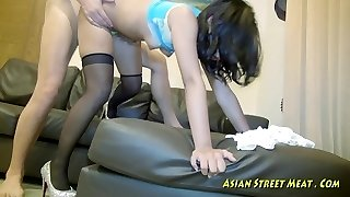 Cock-hungry secretary in silky pantyhose dropping on her knees to give head