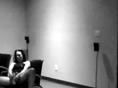 Horny girl caught on security tape getting off at work