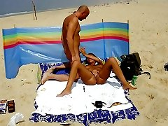 Hidden camera on the public beach