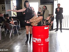 Melody Petite is a perky slut in a box - Part 1Mistress Minerva has a present for Steve! It's Melody Petite, a perky little slut all wrapped up in a box! This barefoot whore sluts her tight ass all over the city for everyone to get a taste! Mistress Minerva loves playing with her toy & delivers some corporal punishment for the city to see. Melody is soo hot from this Steve even has to dunk her in the public fountain to cool down. Fugitive Biker Bar Gets Serviced! - Part 2Tied up in rope bondage, Melody Petite's smiling pussy becomes a perfect tourist destination! Everyone at this rowdy bar wants to get a picture with her. After a round of flogging, Mistress Minerva brings out the electric zapper & makes Melody scream with orgasmic pleasure! Melody is still so hot, Minerva has to spit cold water on her face & pussy. After Melody's high heels come off, one lucky patron gets to fulfill all his foot worshipping pleasures & suck on her tiny toes. But don't let those feet get away yet, Melody is ticklish & gets tormented by Mistress Minerva! Finally a round of blowjobs for bikers & fucking by big dicks that are almost too big to fit in her tight pussy, Melody gets drenched in cum!